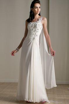 Column One Shoulder Watteau Train Chiffon Bridal Gown (3AI0133)
