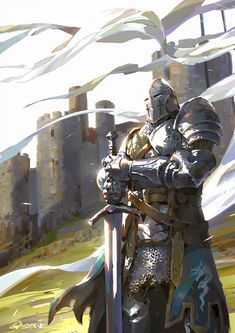 Art featuring medieval knights and their fantasy/sci-fi counterparts. Fantasy Warrior, Fantasy Rpg, Medieval Fantasy, Fantasy Artwork, Dark Fantasy, Armadura Medieval, Knight Art, Templer, Epic Art