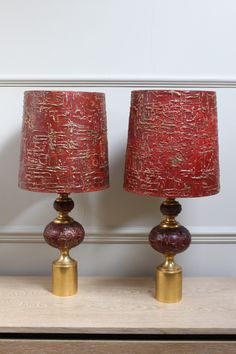 A fine quality pair of solid glass 1950s french table lamps by a good quality and very stylish pair of mid 20th century red french table lamp greentooth Gallery