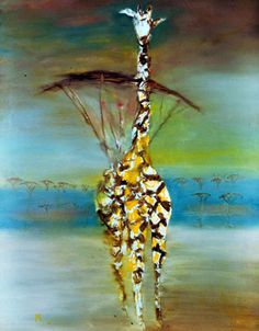 Sidney Nolan (Australian, Giraffe, Oil on composition board, 151 x 121 cm.