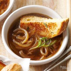 Warm up with this cozy, savory soup recipe that's a perfect vegetarian lunch or dinner option for any day of the week. This easy, delicious Rosemary French Onion Soup can be finished in 30 minutes, making it a quick supper solution for busy nights. Serve with a grilled cheese or other sandwich for the perfect meal.