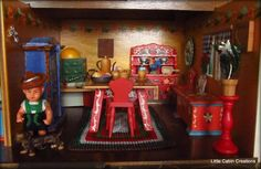 """MAKE DO DOLLS"": Dora Kuhn Peasant Dollhouse 1960"