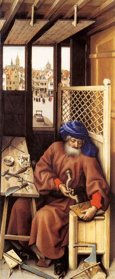 Robert Campin? St. Joseph. Right panel of the Merode Altarpiece, c. 1427-32. South Netherlandish/Tournai. The Cloisters, New York