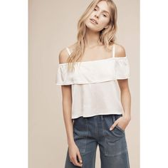 Lacausa Cropped Open-Shoulder Top ($98) ❤ liked on Polyvore featuring tops, neutral, cut out shoulder top, cold shoulder tops, ruffle top, ruffle crop top and pink top