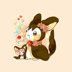 Emolga and shiny Pachirisu