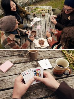 Cards + Hot Chocolate + Friends + Woods = happiness.