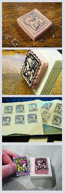 Eny SPACE faux postage handmade rubber stamp by miss coconut, via Flickr