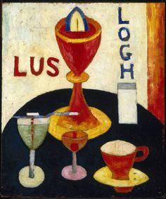 """Handsome Drinks,"" Marsden Hartley, 1916, oil on composition board, 24 x 20"", Brooklyn Museum."