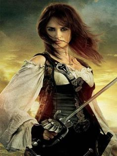 Angelica from Pirates of the Caribbean: On Stranger Tides. Exceptional swordswoman, enough to rival Jack Sparrow himself. Basically a butt-kicking pirate woman. Penelope Cruz, Pirate Wench, Pirate Woman, Pirate Queen, Lady Pirate, Pirate Art, Pirate Life, Captain Jack Sparrow, Pirate Steampunk