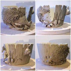 Hedgehog yarn bowl. Unfired custom order. earthwoolfire.etsy.com
