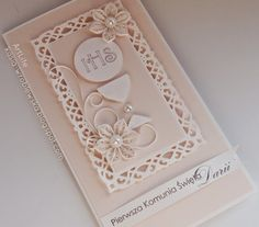 ArtLife: First Communion First Communion Cards, First Communion Invitations, Baptism Invitations, First Holy Communion, Invitation Cards, Communion Cakes, Quilling Cards, Paper Quilling, Confirmation Cards