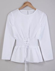 Womens White Long Sleeved Corset Top Blouse Cinched Waist Sizes 8 10 12 14 16 18 #ExBranded #Blouse #Business Summer Tops, Shirt Outfit, Corset, Bell Sleeve Top, Clothes For Women, Blouse, Business, Shirts, Stuff To Buy
