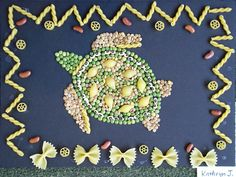 Kathryn, age used black eyed peas to create a beautiful edge on her turtle. Diy And Crafts, Crafts For Kids, Arts And Crafts, Projects For Kids, Art Projects, Seed Craft, Pasta Crafts, Origami, Pasta Art