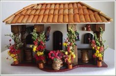 balcones antioqueños miñiatura - Buscar con Google Miniature Kitchen, Miniature Crafts, Miniature Houses, Diy Clay, Clay Crafts, Diy And Crafts, Glow Table, Biscuit, Clay Houses
