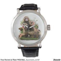 Four Ferrets in Their Wild Habitat Wrist Watch