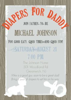 Daddy Diaper Baby Shower - Dad Shower Invitation