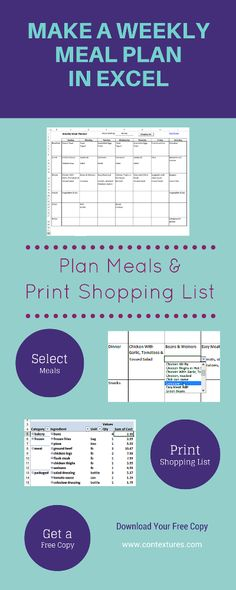 Meal Planner with Grocery List OMG!!!! This is amazing I have been - business plan spreadsheet template excel