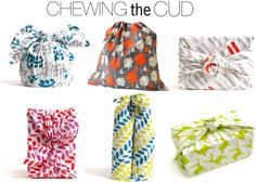 Chewing the Cud fabric gift wraps