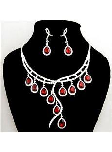 Beautiful Cirrus Shaped White Alloy with Red Rhinestone Wedding Jewelry Sets