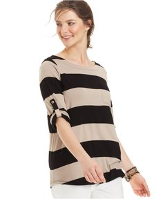 Cable & Gauge Tab-Sleeve Striped Top - Tops - Women - Macy's
