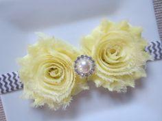 yellow and gray baby headband yellow headband by hartsandflowers, $7.75