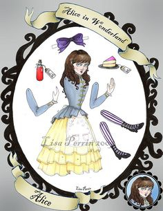 Alice in Wonderland Paper Dolls - Alice by LisaPerrinArt, via Flickr
