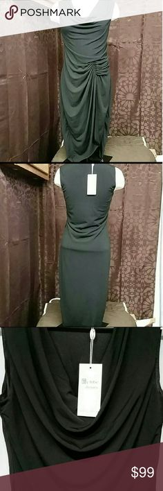 NWT MY TRIBE dress size small This is new with tags stunning crisp black dress My Tribe brand size small 92% polyester 8% spandex measurements laying flat armpit to armpit 16 inches length from shoulder down is 44 inches My Tribe Dresses