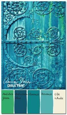 DIY Chalk Paint Furniture Ideas With Step By Step Tutorials - Verdigris Antique Door - How To Make Distressed Furniture for Creative Home Decor Projects on A Budget - Perfect for Vintage Kitchen, Dining Room, Bedroom, Bath Antibes Green, Chalk Paint Projects, Chalk Paint Furniture, Paint Ideas, Annie Sloan Painted Furniture, Chalk Ideas, Diy Projects, Decoration Palette, Paint Colors