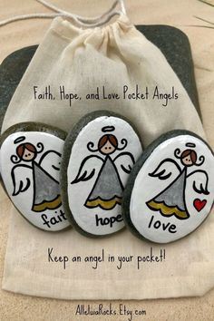 Faith Hope Dear Angel Set de 3 Guardian Angel Pocket Rocks Comfort Stones Worry Stone First Communion Gift Sunday School Gift Angel The post Faith Hope Love Angels Set de 3 Guardian Angels Pocket Rocks Comfort Stones S appeared first on Roma Moda. Pebble Painting, Pebble Art, Stone Painting, Rock Painting Designs, Paint Designs, First Communion Gifts, Christmas Rock, Hand Painted Rocks, Painted Pebbles
