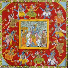 Krishna Kolatam - Cheriyal Painting - Completely handmade with organic colors on canvas cloth - 17 X 17 inches, can be framed to hang on the wall.