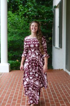 Modest Fashion | Modest Bridesmaid Dresses | Burgundy Maroon Versailles Dress by Dainty Jewell's Modest Apparel