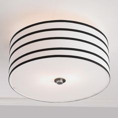 "Stripe Shade Ceiling Light Smart and tailored, this stripe drum shade ceiling light adds the tuxedo touch to your room! White acrylic diffuser. 2x40 watts medium sockets. (9""Hx15""W)"