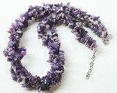 Three string Amethyst necklace.