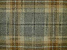 Wool Tartan Check Plaid Grey Sand Curtain & Upholstery Fabric - The Millshop Online