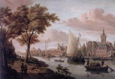 A capriccio of a Dutch river landscape with elegant figures on a footpath in the foreground by Jacobus Storck
