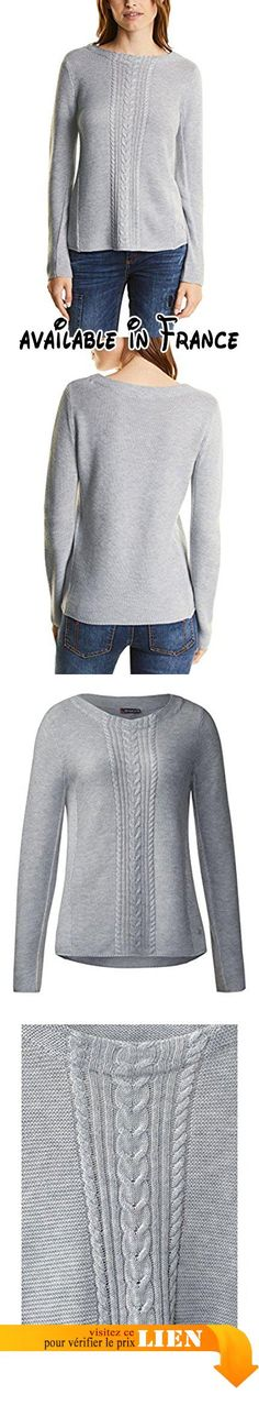 B0721B82YT : Street One Pullover with Cable Structure Mix Pull Femme Grau (Cyber Grey Melange 10767) 36 (Taille du Fabricant: 34).
