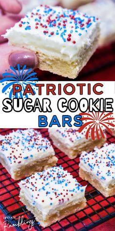 Patriotic Sugar Cookies, Patriotic Desserts, 4th Of July Desserts, Summer Desserts, Holiday Desserts, Holiday Baking, Just Desserts, Sugar Cookie Bars, Easy Sugar Cookies
