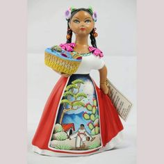 Authentic Premium Najaco Lupita w Basket of Toys, Mexican Ceramic Figurine Doll Pottery Clay Imported from Mexico by Wandering Gypsy from Tonala, Mexico. Mexican folk art Collectible Home Decor Hand painted Ceramic Figures, Ceramic Art, School Projects, Projects For Kids, Mexican Ceramics, Toy Basket, Two Braids, Pottery Clay, Mexican Folk Art