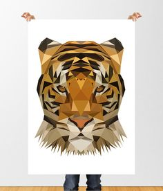 TIGER Low Poly Printable Art, Tiger Print, Geometric Tiger Poster, Instant Download, Animal Poster, Childrens Art, Nursery Decor, Polygonal by tothewoodside on Etsy