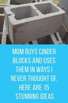 These nifty ways to use cinder blocks are perfect for any DIY enthusiast! Trash To Couture, Cinder Block Furniture, Cinder Blocks, Cinder Block Ideas, Concrete Projects, Concrete Blocks, Cement Crafts, Concrete Patio, Concrete Countertops
