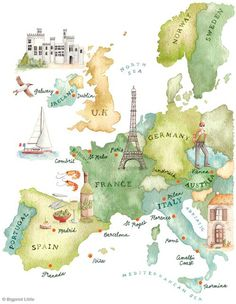 in europe watercolour Love this.didn't appreciate my own summer in Europe enough!summer in europe watercolour Love this.didn't appreciate my own summer in Europe enough! Travel Maps, Travel Posters, Places To Travel, Europe Map Travel, Travel Destinations, Europe Europe, Fun Travel, Summer Travel, Voyage Europe
