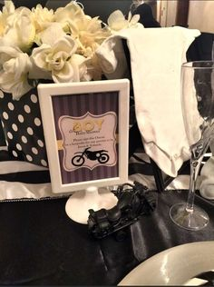 Awesome motorcycle theme baby shower party! See more party planning ideas at CatchMyParty.com!