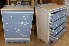 Painted Dresser. Stars are embossed using Joint Compound and stencil! SOLD