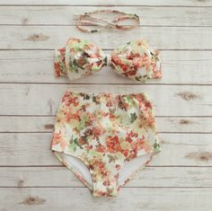 Bow Bikini Vintage Style High Waisted Cute Retro Pin-up