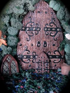 Fairy Door Set - consisting of Large Scrunching Door, Pixie Window and Small Pinching Door -Dark Brown & Black - Die Stone Cast. (FRB)