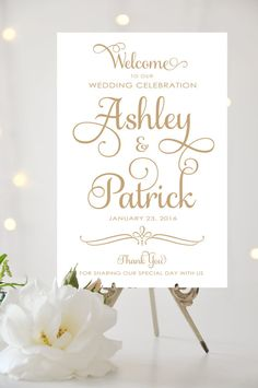 Welcome to our Wedding Sign - Large Wedding Poster - Ever After Script - Any Color - I Create and You Print Wedding Welcome Board, Wedding Posters, Ever After, Celebrity Weddings, Wedding Signs, Special Day, Place Card Holders, Design Inspiration, Create
