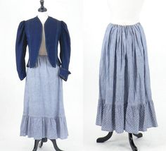 1910s Edwardian Striped Chambray Skirt, Antique Workwear, Blue and White Striped Primitive Fabric