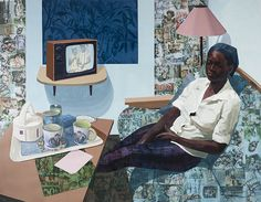 Njideka Akunyili Crosby: Super Blue Omo. Courtesy Norton Museum of Art, West Palm Beach, Florida, Purchase, acquired through the generosity of Jim and Irene Karp, 2016.178 © Njideka Akunyili Crosby