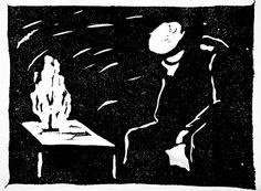 Ott-Heinrich Strohemeyer, Bourgeois sentimentality / Bürgersentimentalität, ca 1916. Woodcut 3 9/16 x 4 7/8 in. Robert Gore Rifkind Ctr for German Expressionist Studies @ LACMA