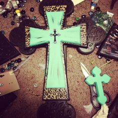 Wooden decorative stacked cross leopard turquoise by DecorAddict8, $45.00